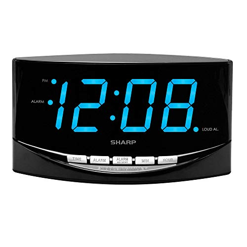 "SHARP Digital Alarm Clock with Easy to See Large 2"" Bright Blue Large LED Display - Simple Operation - Easy to Set-up - Easy to Use for Kids,Teens,Seniors - Bedroom, Kitchen, Office"