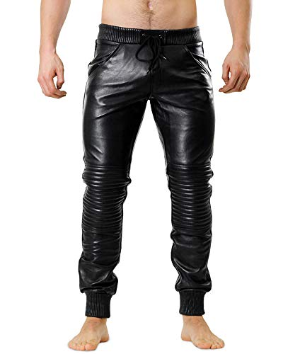 Bockle® Joggers Running Leather Pants Lambskin Soft Men, Size: XL