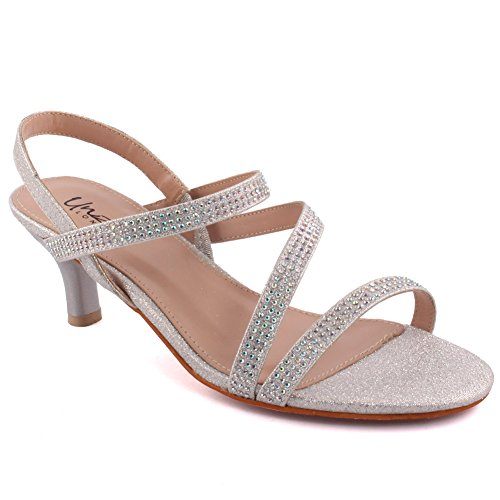 Unze Women  Numera  Diamante Embellished Strappy Low Mid Stiletto Heel Evening Party Carnival Get Together Brunch Wedding Heel Sandals Court Shoes Size 3 8   5110 25