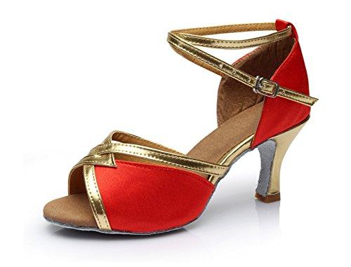 Scarpe ballo moderne Scarpe per donna adulti da ballo donna XW ballo tacco WX da estive 34 alto con da Scarpe per red 40 da vP4XOFPq
