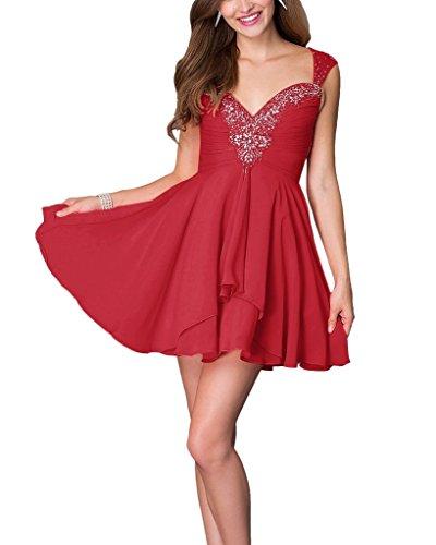 A Braut mia Anmutig linie Rot Promkledier Cocktailkleider Mini Chiffon Partykleider Farbe La Steine Viel Dunkel wqxPwHT