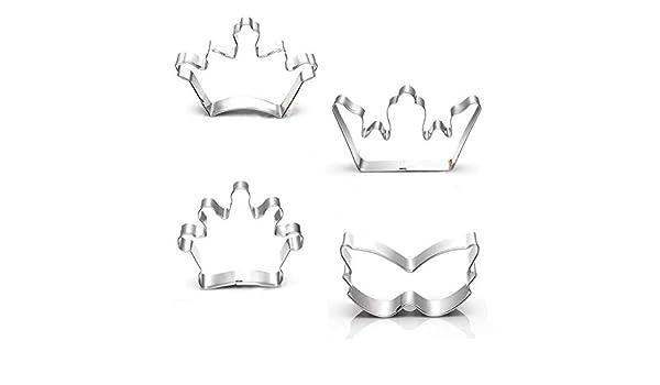 ... 3 pulgadas, 5 piezas, corona de rey, corona de princesa, máscara de Mardi Gras, cruz, cortador de galletas, moldes de fondant: Amazon.es: Hogar