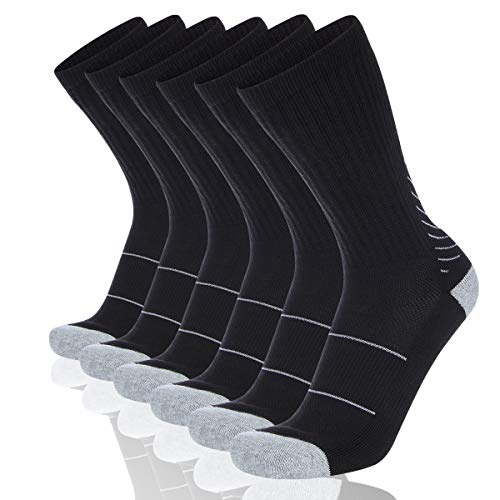 Premium Casual Shoes - COOVAN Men's 6P-Pack Premium Athletic Crew Socks Men Thick Cushion Casual Work Sock With Moisture Wicking Black 6 Fits mens shoe size 7-13