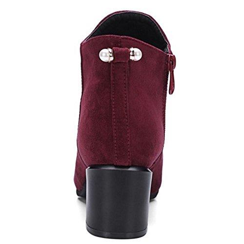 Blockabsatz Herbst COOLCEPT Kleid Zipper Absatz Red Mode 225 Damen Mitte Stiefeletten Event Wine pSyy4wFgqf