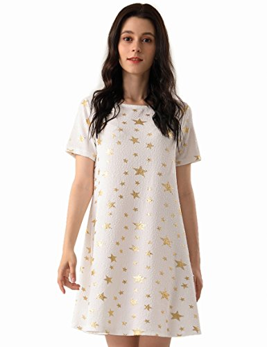 OEUVRE Women's Metallic Star Tunic Stretch Dress Short Sleeve Jersey Plus Size White 10