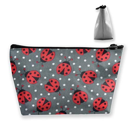 Makeup Bag Trapezoidal Storage Bag Ladybug Animal Insect Portable Cosmetic Bag Ladies Mobile Travel -