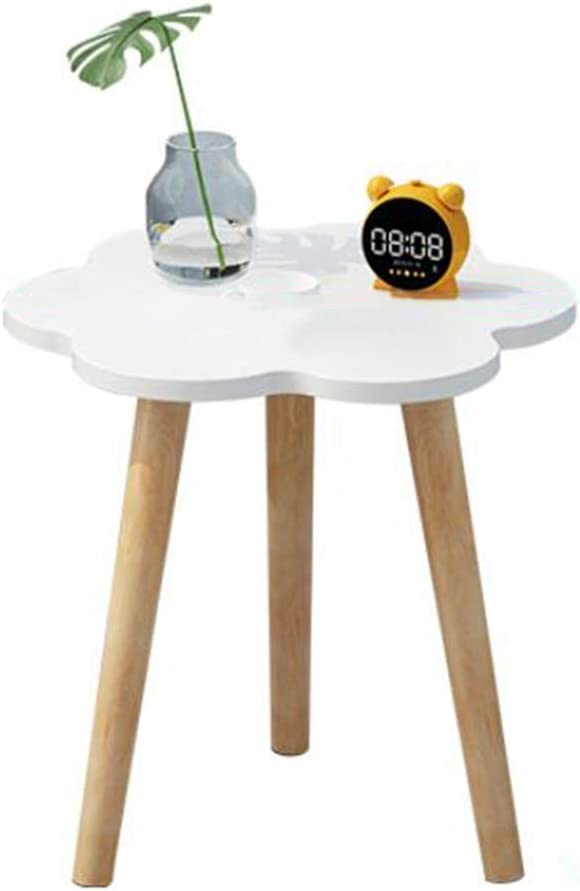 KFDQ Small Household Table,Home Wooden Plum-Shaped Side Table, Simple and Modern Sofa Small Round Table, Bedroom Environmentally Friendly Bedside Table,White