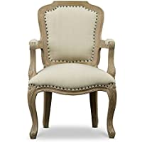 Baxton Studio Poitou Wood Traditional French Accent Chair, Large, Brown