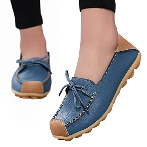 Women Casual Lace-up Flat Loafer Breathable Soft Bottom Wild Leisure Slip-On Peas Boat Shoes Blue n1EX4Qa