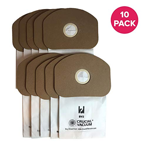 Think Crucial 10 Replacements for Eureka BV-2 Bags, Fit Sanitaire, Backpack, Carpet Pro, Piranha, and Tornado, Compatible with Part 62370 ()