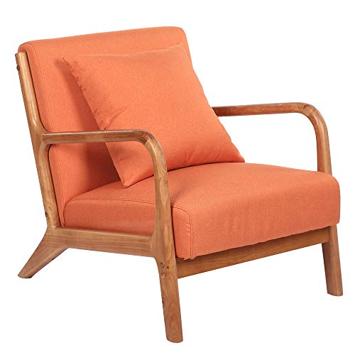 USPTONE Single Lazy Sofa Accent Oak Frame Fabric Medieval-Style Lounge Arm Chairs Orange Leisure Couch Home Recliner - 66x77x73cm