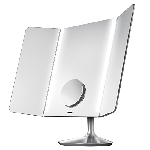 simplehuman-Sensor-Mirror-Pro-Wide-View-1x-Magnification-10x-Detail-Mirror-Attachment-Lighted-Vanity-Mirror-Adjustable-Color-Temperature-Wifi-Enabled