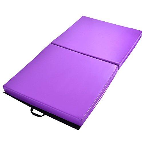 "oldzon Folding Gymnastics Exercise Mat 6′ x 38″ x 4"" Purple Two Panel With Ebook"