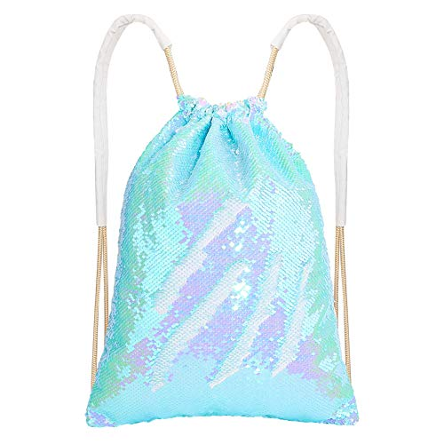 MHJY Mermaid Sequin Bag,Magic Sparkly Sequin Drawstring Backpack Glitter Sports Dance Bag Shiny Outdoor Beach Travel Backpack (Mermaid Pale Blue)