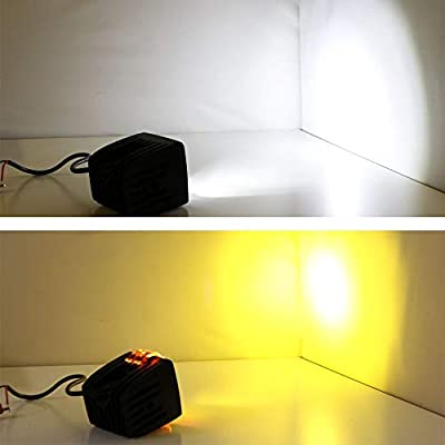 iJDMTOY LED Pod Light Fog Lamp Compatible With 2010-14 Ford SVT Raptor, Includes (4) 20W High Power White CREE LED Cubes, (2) Amber Lens, Foglight Location Mounting Brackets & On/Off Switch Wiring: Automotive