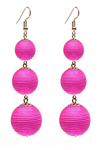 VK Accessories Thread Ball Dangle Earrings Thread Dangle Earrings Soriee Drop Earrings Beaded Ball Ear Drop Dark Pink Thread Earrings Jewelry