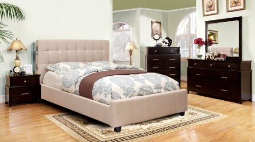 Furniture of America Reyes Fabric Platform Bed with Bluetooth Speaker Headboard Design, Queen, Ivory