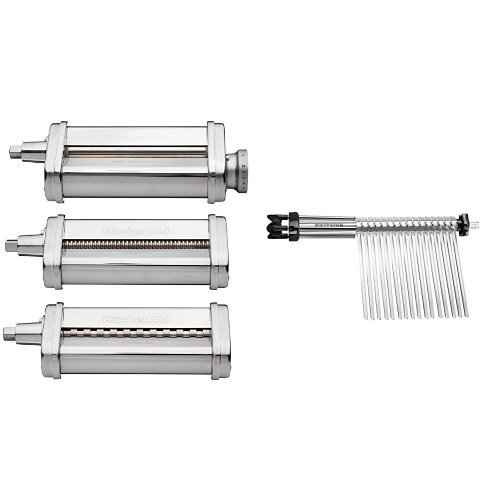 KitchenAid KSMPRA 3 Piece Pasta Roller & Cutter Attachment Set, Silver and KitchenAid KPDR Pasta Drying Rack Attachment Bundle