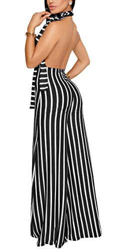 sexycherry Women's Sexy Halter Strap Stripe Sleeveless High Waisted Wide Leg Long Pants Backless Jumpsuits Rompers