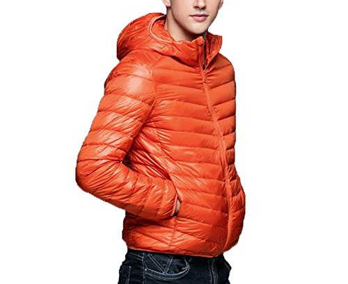 Con Cappuccio Down Uomo Puffer Sleeve Giacca Orange Giacche Packable Ake Long 4Tn1Xxx
