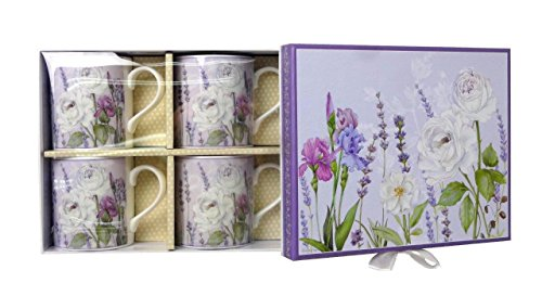 Lightahead Elegent Bone China Coffee Tea Mug set of 4, in attractive gift box in Lavender Floral Design 10 oz each cup Bone China Tea Mug
