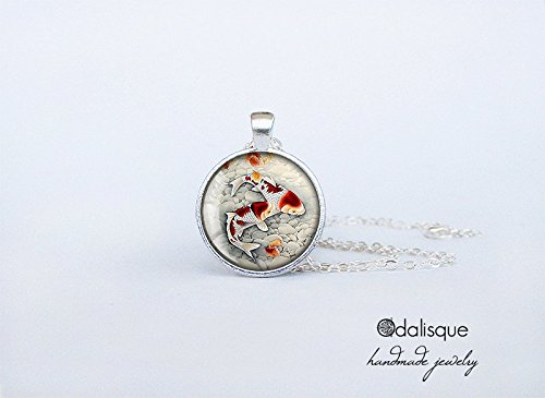 anese Carp Necklace Asian Art Jewelry Birthday Gift Round Glass Carp Pendant cs58 ()