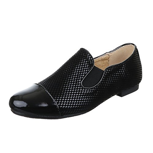 Ital-Design Damen Schuhe, 6223-1, Halbschuhe Stretch Slipper Schwarz