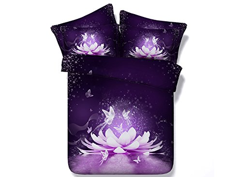 Comforter Sets Queen,Luxury Purple Floral and Butterfly Bedding,1 Black Bed Sheet,1 Duvet Covers Queen,1 White Comforter/Bedspread,2 Pillow Shams,5 Piece Soft 3D Bedding Sets King/Full/Twin,Purple