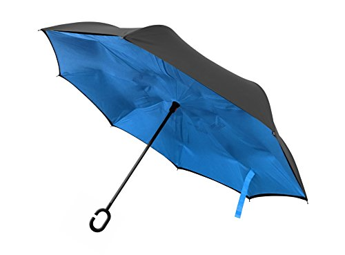 Better Brella C-Shaped Handle Reverse-Open Umbrella (Blue) ()