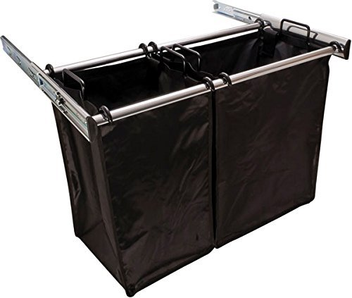 30 Inch Sliding Double Laundry Hamper Chrome