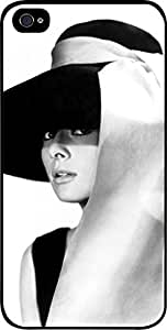 linJUN FENGAudrey Hepburn-Black and White-Hat- Hard Black Plastic Snap - On Case -Apple Iphone 6 ONLY- Great Quality!