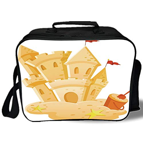 - Kids Decor 3D Print Insulated Lunch Bag,Sand Castle Kingdom Summer Hobby Activity on the Beach Children Game Design,for Work/School/Picnic,Light Yellow