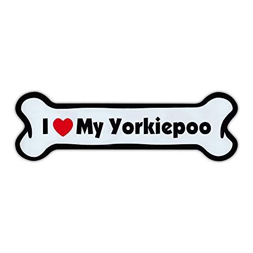 - Dog Bone Magnet - I Love My Yorkiepoo (Yorkshire Terrier Poodle, Yorkipoo) - For Cars, Trucks, SUVs, Refrigerators, More