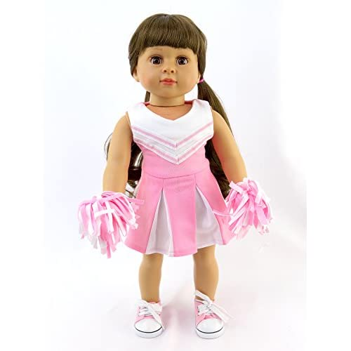 8ea11d80a06 50%OFF Pink and White Doll Cheerleader Outfit - Outfit includes Pom ...
