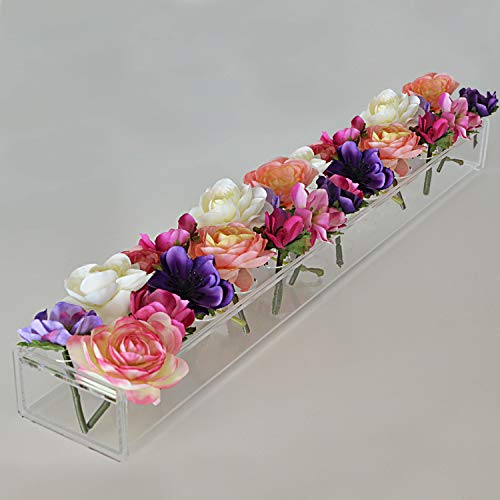 Rectangular Floral Centerpiece for Dining Table  24 Inches Long Rectangle Vase  Acrylic Modern Vase  Low Laying Unique Flower Vases for Home Decor or Weddings LED Clear