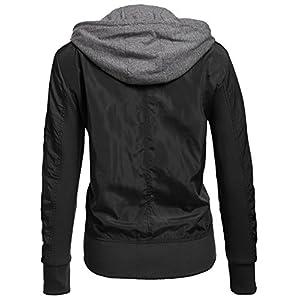 Unibelle Womens Zip Up Motorcycle Short Jacket with Hoodie Black XXL