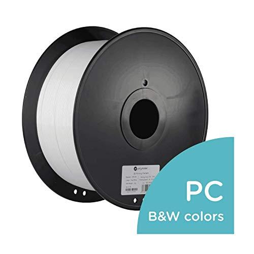 Filamento de impresora 3D Polymaker PC-Max, filamento de PC (policarbonato), blanco verdadero, 2,85 mm 3 kg, resistente al calor 110C, fácil de imprimir, más duro y más fuerte que la PC normal ...