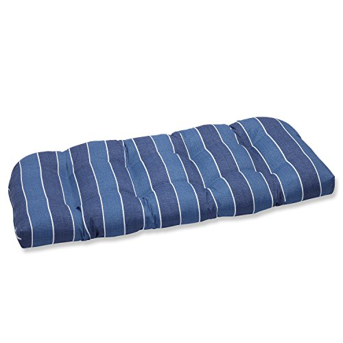 Pillow Perfect Outdoor Wickenburg Wicker Loveseat Cushion, Indigo