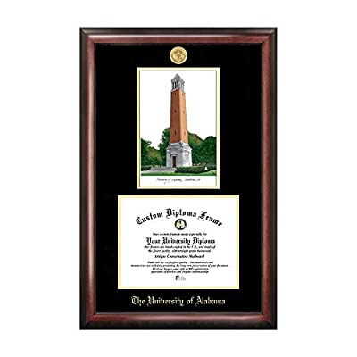 Campus Images Sports Team Logo Design University of Alabama, Tuscaloosa Gold Embossed Diploma Frame with Campus Images Lithograph