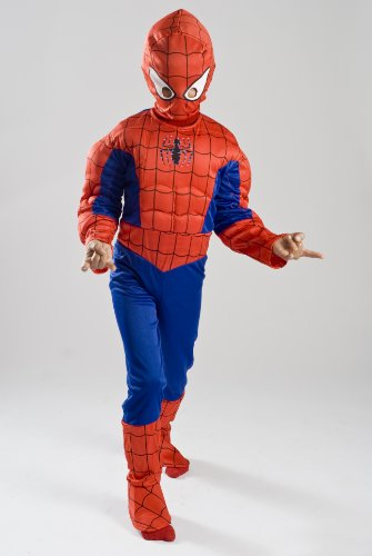 Spiderman Costume Boys kids light up Size S M FREE MASK 4 5 6 7 8 9