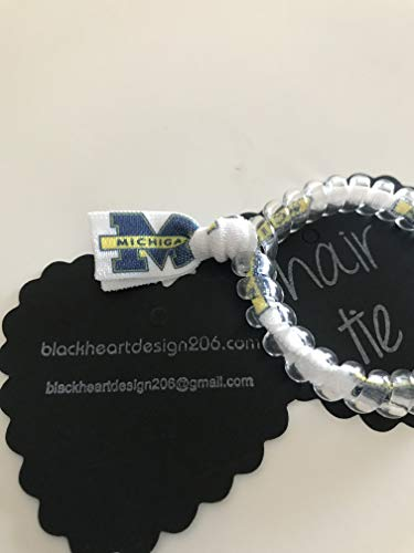 Michigan Wolverines Big Blue football secure sports hair tie hair cord hair elastic for all pony tail types messy buns foe hair art