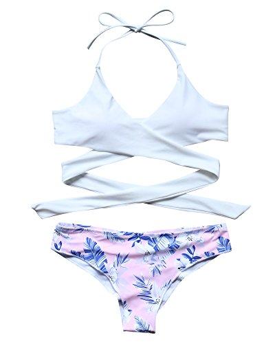 MOOSLOVER Womens Bathing Suits Bikini Set Criss Cross Swim Top Scrunch Swimsuit - Pattern Tie Cross