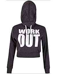 PurpleHanger Women's Work Out Print Hoody Sweatshirt Crop Top