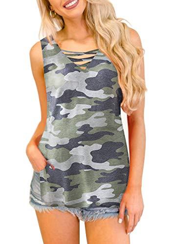 - YIBOCK Women's Summer Camo Criss Cross V Neck Sleeveless Cami Tank Tops Blouse (Green, L)