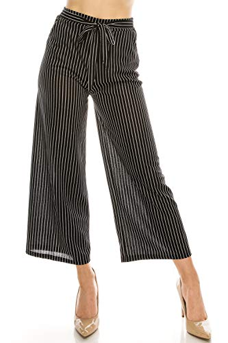 LA12ST Women High Waist Casual Self Tie Stripe Wide Leg Palazzo Pants Trousers ()