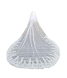 Fenghuavip 1T 1 Tire Lace Veils for Bride Long Bridal Wedding Veil Sequins Free Comb