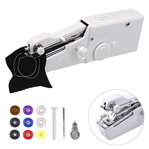 Portable Sewing Machine,Handheld Sewing Machine , MSDADA Mini Sewing Machine for Home Travel Stitching ,Quick Repairs,Fabric Sewing,DIY,Birthday,Children's Day Gift for Kids&Adult(with 9 Pcs ()