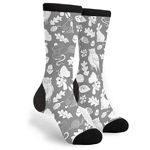 Fashion Travel Breathable Socks Owls In The Woods Grey White Men & Women Running Casual Socks