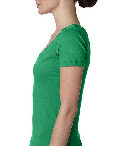 Next Level Apparel Women's Deep V-Neck Short-Sleeve T-Shirt, Kelly Green, XX-Large