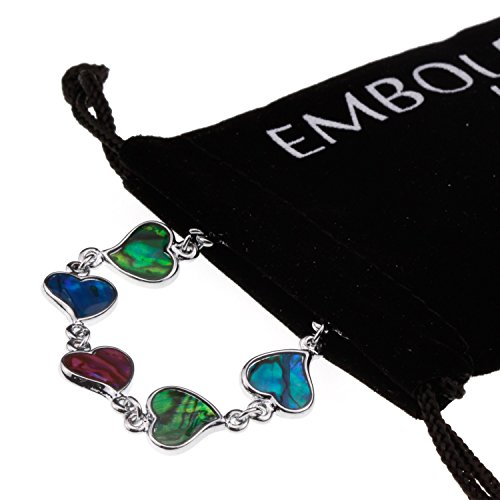 Colorful Cute Heart Abalone Paua Shell Designer Silver Jewelry Love Bracelet for Girl Woman (Band Link Curb Designer)